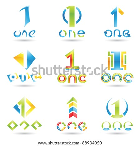 Vector illustration of Icons for number one isolated on white background