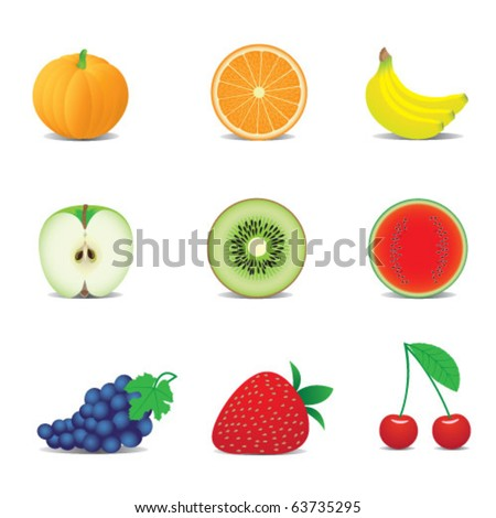 Vector illustration of icons of fruits