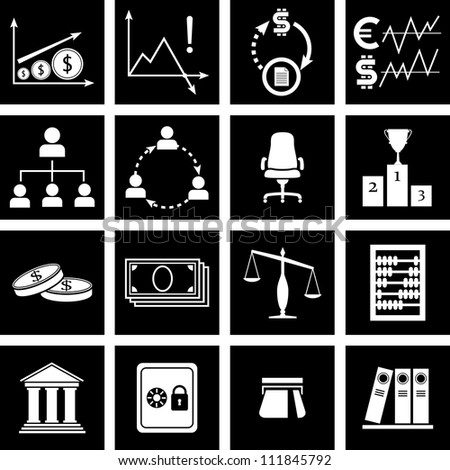 Vector illustration of icons on finance