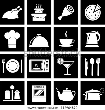 Vector illustration of icons on the topic of food and cuisine