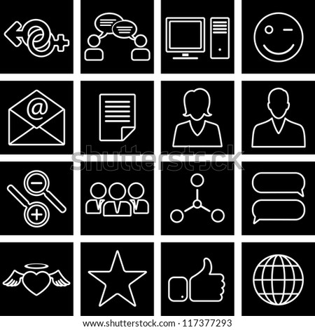 Vector illustration of icons on the topic of social network