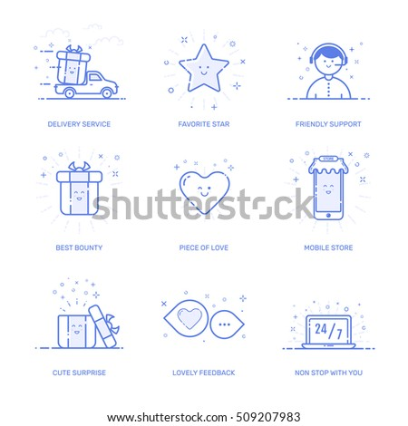 Vector illustration of icons set shopping commerce, marketing, business concept in line style. Linear blue elements. Design for internet, banner, web and mobile app. Outline object e-commerce icon.