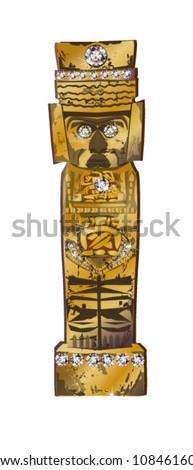 vector illustration of Inca ancient statue - stock vector