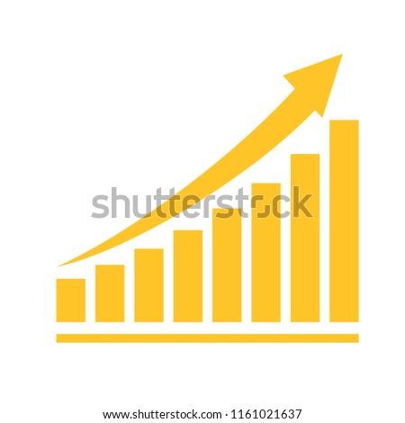 Vector illustration of incremental growth, positive graph of revenue, profit,  performance, success.