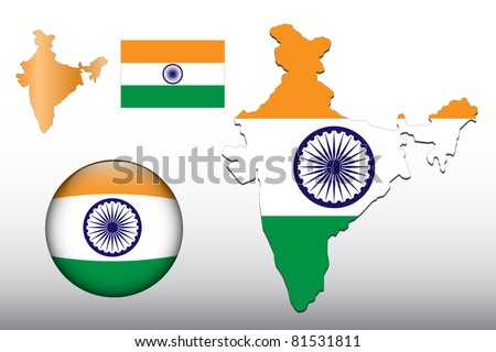 Vector illustration of India map and glossy ball with flag pattern