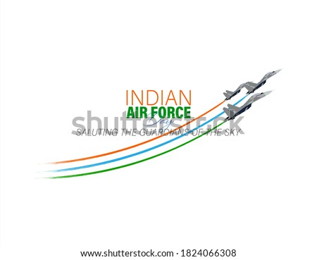 Vector Illustration of Indian Air Force Day observed on October 8. Banner with fighter plane and air pilot walking away from it. Сток-фото ©