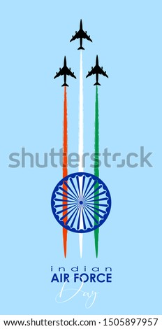 Vector illustration of Indian Air Force Day. vector Foto stock ©