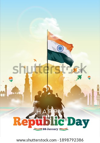 Vector illustration of Indian army parade on India gate with flag. 26 January Happy Republic Day of India celebration