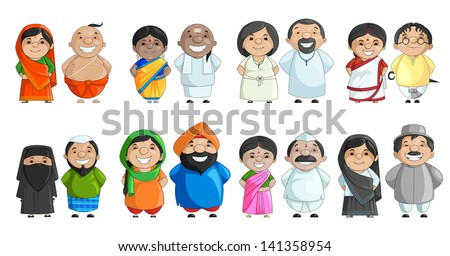 vector illustration of Indian couple of different culture standing together
