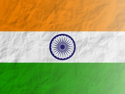 Vector Illustration of indian flag in paper crush style for Indian Republic Day and independence day celebration.