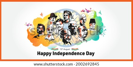 vector illustration of Indian independence Day festival tricolor background with Freedom Fighter