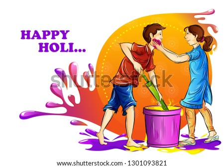 vector illustration of Indian people playing India Festival of Color Happy Holi background