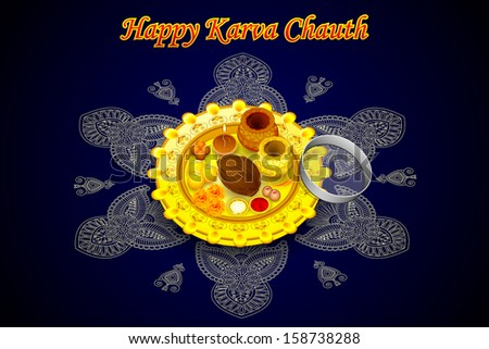 vector illustration of Indian Puja Thali for Karva Chauth