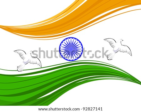 Vector illustration of Indian tricolor flag with flying pigeon and Asoka wheel on white isolated background for Republic Day and Independence Day.