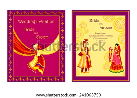 Indian wedding card background download free vector art stock vector illustration of indian wedding invitation card stopboris Image collections