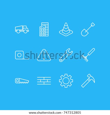 Vector Illustration Of 12 Industry Icons. Editable Pack Of Cogwheel, Measure Tape, Hacksaw And Other Elements.