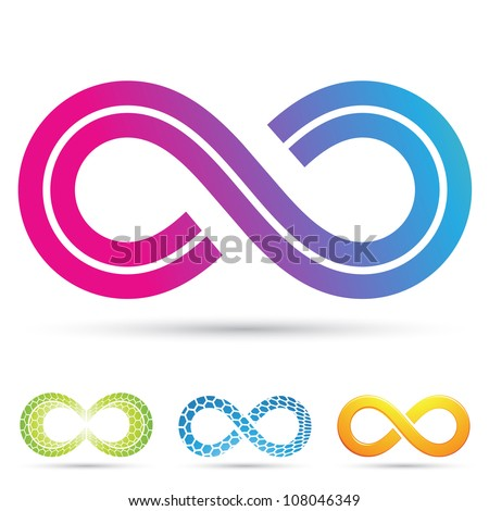 Vector illustration of infinity symbols in retro style - stock vector