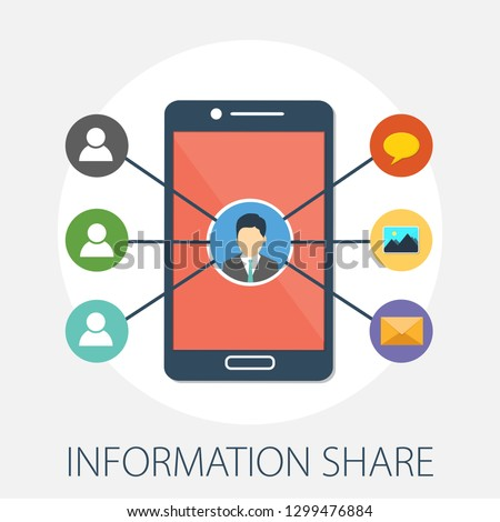 Vector illustration of information sharing & people network concept with