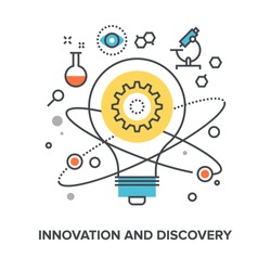 Vector illustration of innovation and discovery flat line design concept