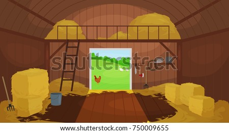 Shutterstock Vector illustration of  Inside Old wooden barn with haystacks. Tools for shed
