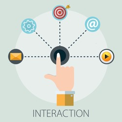Vector illustration of interactive business & interaction digital technology with