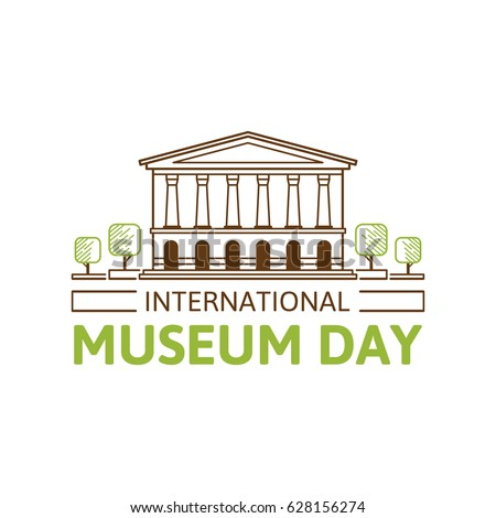 Vector illustration of International Museum Day. Linear drawing style