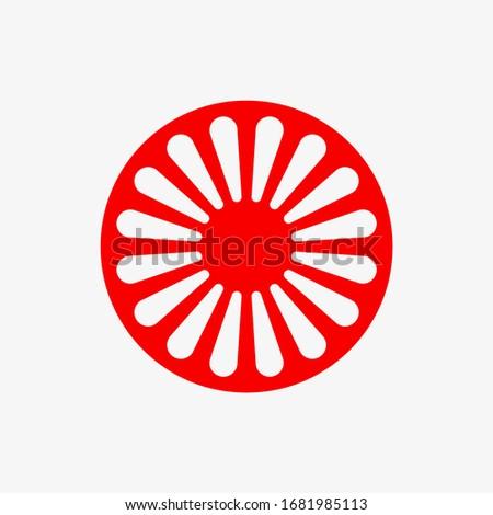 Vector illustration of international romani symbol. Gypsy symbol isolated on white background. Photo stock ©