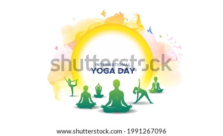 Vector illustration of international yoga day concept. 21 June and sun rise background