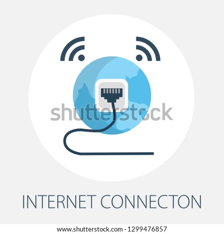 """Vector illustration of internet connection & technology network with """"internet connection"""" global connection concept. communication icon."""