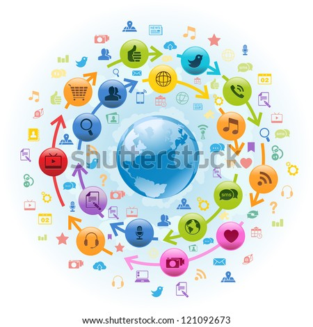 Vector Illustration of internet globe with social media icons circling around.