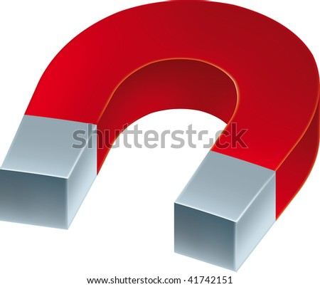 Vector illustration of iron magnet. Only global colors. CMYK. Easy color changes.