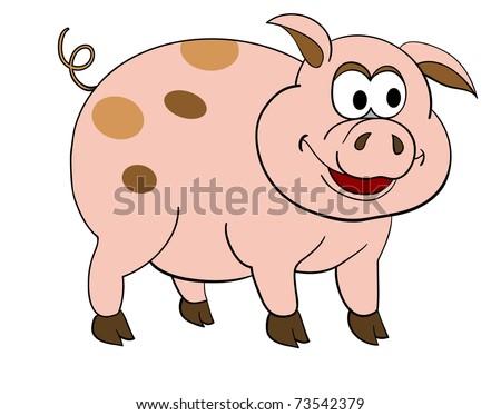 Drawn vector illustration of an chef pig making bbq stock vector - Vector Illustration Of Isolated Cartoon Pig 73542379