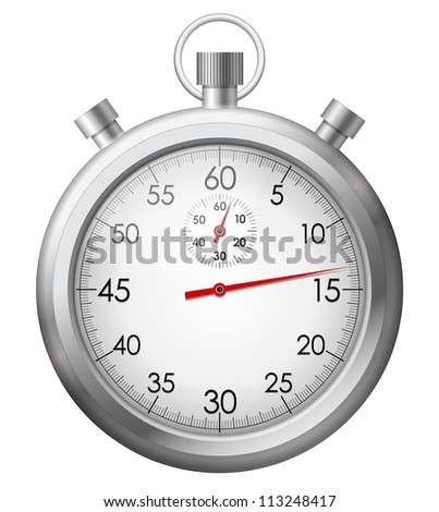 Vector illustration of isolated chrome stop watch