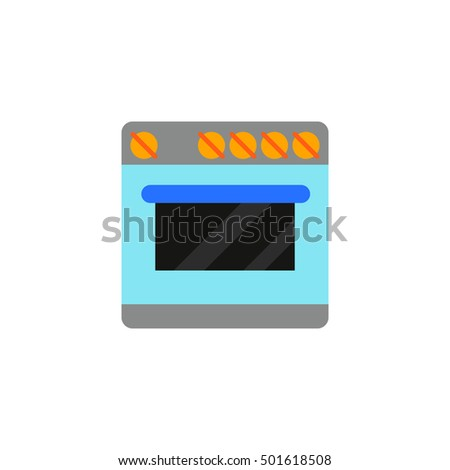 Vector illustration of isolated colored plates image on a white background in flat style. Icon kitchen equipment. Subject of cooking, baking. For the interior. Fashionable design. Cook food. Gas-stove
