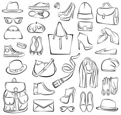 Vector illustration of isolated fashion accessories