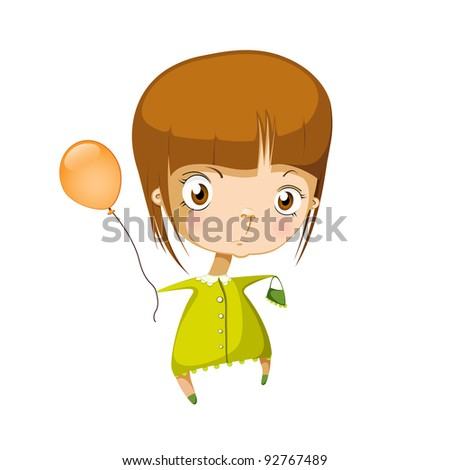vector illustration of isolated girl in green dress - stock vector