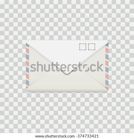 Vector illustration of isolated photo-realistic envelop with stamps mock up on transparent photoshop background EPS 10