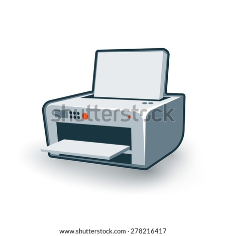 Vector illustration of isolated printer in cartoon style.