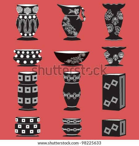 Vector illustration of isolated set of vases with abstract floral motif
