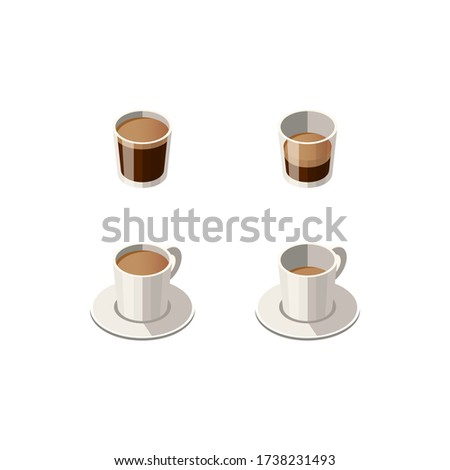 Vector Illustration of Isometric Cups and Glasses with Different Types of Espresso isolated on white background. Espresso, Espresso Doppio, Espresso Lungo. Cafe, Restaurant Menu Design Concept.