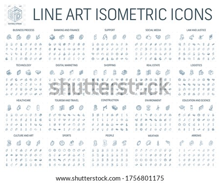 Vector illustration of isometric line art icons for business, bank, social media market, logistics, technology, shop, education, sport, healthcare, construction. 3d technical drawing. Editable stroke.