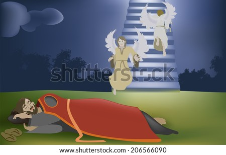 Vector illustration of Jacobs Dream, with Jacob dreaming with his dream illustrated in the background of this image. This vector has gradient meshes (grass,sky, and sky and stairs) genesis 28:10-22