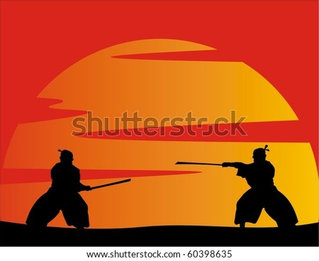 vector illustration of japanese fighters