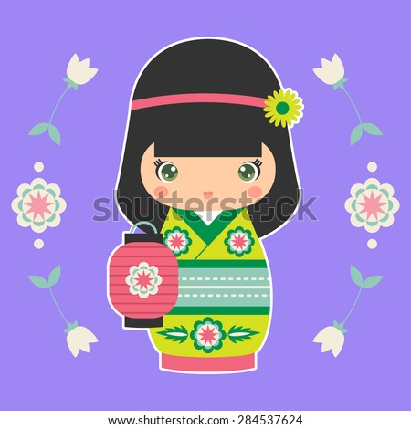 Vector illustration of Japanese Kokeshi Doll with lantern. Print for t-shirt, elements for card design. Baby art