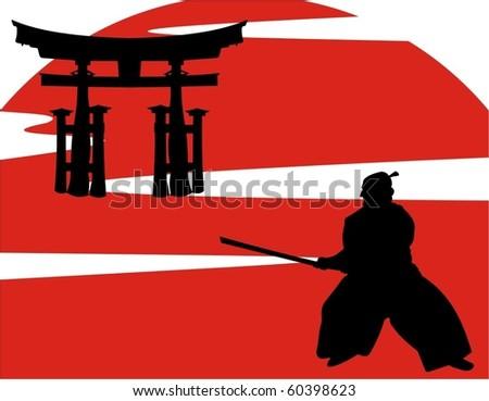 vector illustration of japanese samurai