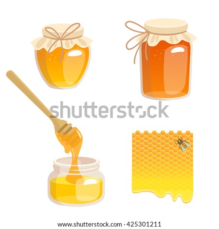 Vector illustration of jars with honey, honeycomb and bee. Honey in jar with honey dipper.
