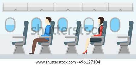 Vector illustration of Jet Passenger on the Seat Flight. Aircraft Seats Line in Cabin.