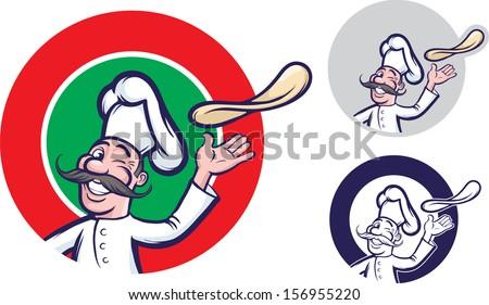 Pizza Chef Vector Chef Tossing Dough Pizza