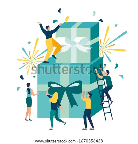 vector illustration of joyful people, employee receives a gift, online reward for a good job, holiday corporate vector