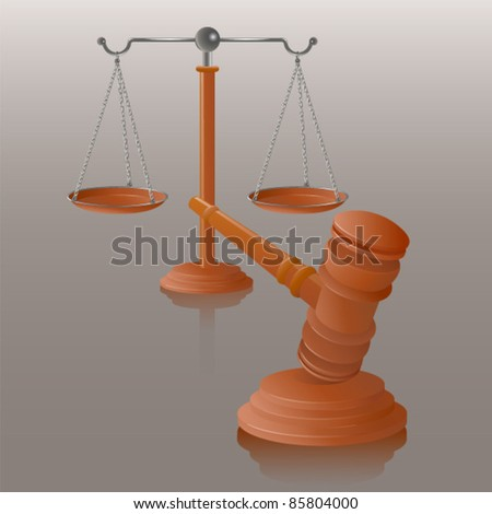 Vector illustration of judge gavel and balance scales.